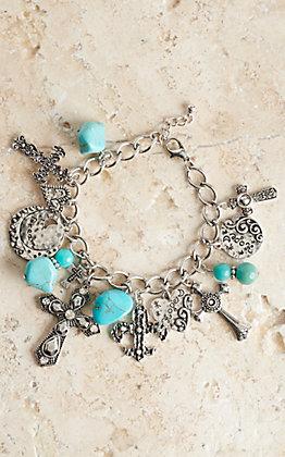 Blazin Roxx Silver Cross & Turquoise Bead Charm Bracelet