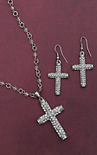 Blazin Roxx Silver Crystal Cross Jewelry Set 30426