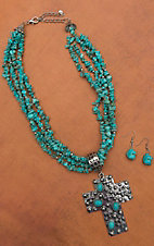 Turquoise Multi-strand Silver Cross Pendant Necklace and Earring Set