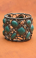Blazin Roxx Burnished Silver with Turquoise Stones & Crystals Stetch Bracelet