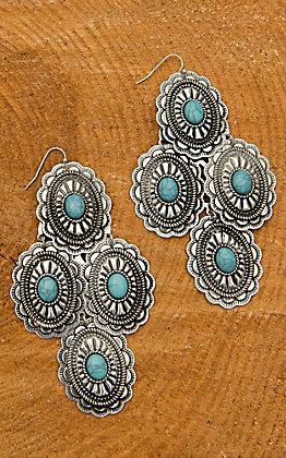 Blazin Roxx Turquoise Oval Chandelier Earring