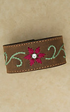 Brown Leather Embroidered Bracelet Snap Cuff