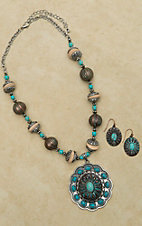 Turquoise Engraved Drop Pendant Necklace and Earring Set