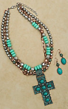 Turquoise, Silver, and Copper Multi-strand Necklace and Earring Set