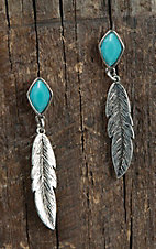Blazin Roxx Silver Feather with Turquoise Diamond Stone Post Dangle Earrings