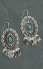 Blazin Roxx Silver Concho with Turquoise Stone & Feather Charms Dangle Earrings
