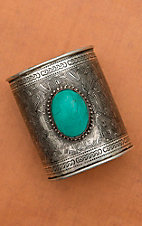 Large Silver Cuff with Clay Stone