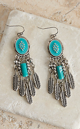 Blazin Roxx Fish Hook Turquoise Drop Feathers Earrings