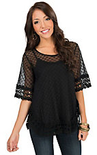 Origami Women's Black Window Pane with Crochet Trim Short Sleeve Top