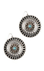 Blazin Roxx Ethnic Disc w/ Stones Earrings