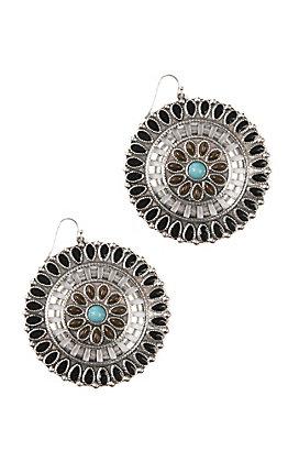 Blazin Roxx Ethnic Disc with Stones Earrings