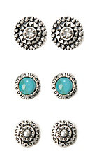 Blazin Roxx Silver Trio Disc Earring Set