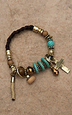 Blazin Roxx Ladies Brown Braided with Gold, Turquoise, and Bronze Charm Bracelet