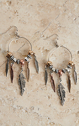 Blazin Roxx Feather Drop Hoop Earrings