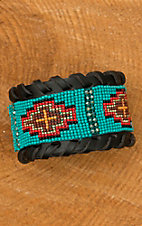 Blazin Roxx Black Leather with Tribal Beaded Design Cuff Bracelet