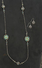 Blazin Roxx Silver with Green and Turquoise Floral Jewelry Set
