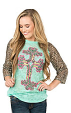 Southern Grace Women's Mint Green with Leopard Sleeves and Cross Design 3/4 Sleeve Casual Knit Top