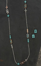 Blazin Roxx Ladies Silver with Vintage Gold, Bronze, and Turquoise Rectangle Accents Jewelry set