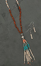 Blazin Roxx Ladies Cream, Coral, Turquoise, and Silver Beaded Jewelry Set