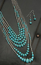 Blazin Roxx Ladies Silver and Turquoise Beaded Multi Chain Necklace and Earring Jewelry Set