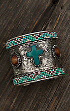Blazin Roxx Ladies Silver with Turquoise, Brown, and Cream Beading and Large Cross Stone Cuff Bracelet