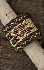 Blazin Roxx Ladies Cream, Brown, and Iridescent Aztec Beaded Bracelet