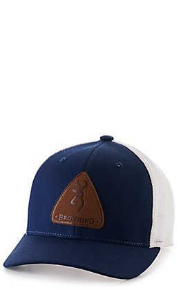 Browning Men's Navy with Leather Look Logo Patch Cap