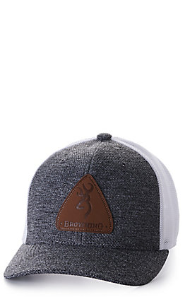 Browning Grey Slug Mesh and White with Leather Logo Patch Cap