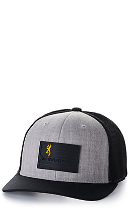 Browning Heather Grey and Black Flag Logo Patch Cap