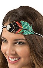 Blazin Roxx Ladies Black, Turquoise, and Coral Beaded Feather Elastic Headband