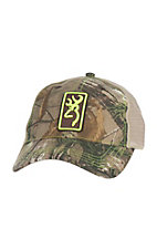 Browning Camouflage with Neon Yellow Embroidered Logo and Cream Mesh Back Snap Back Cap