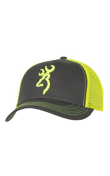 browning flashback charcoal grey and neon yellow logo snap back cap