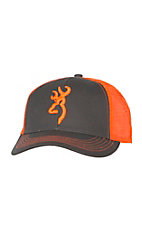 Browning Flashback Charcoal Grey and Neon Orange Logo Snap Back Cap