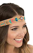 Blazin Roxx Ladies Tan with Turquoise, Blue, and Coral Beading Elastic Headband