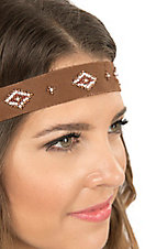 Blazin Roxx Ladies Brown with Brown and Cream Beading Elastic Headband