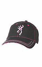 Browning Black with Pink Zebra Embroidered Logo Buckle Back Cap