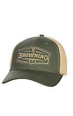 Browning Atlus Mallard 1878 Patch Olive and Khaki Velcro Back Cap
