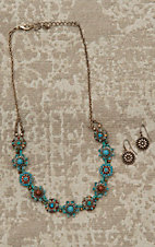 Blazin Roxx Ladies Gold with Turquoise Flower Jewelry Set