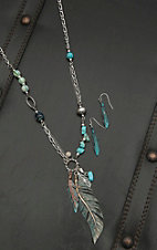 Blazin Roxx Ladies Silver with Turquoise Beads and Feather Necklace and Earrings Jewelry Set