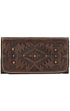 American West Ladies Mystic Shadow Chestnut Brown Tri-Fold Wallet