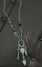 Blazin Roxx Ladies Silver and Turquoise with Beads and Arrow Pendant Necklace and Earrings Jewelry Set