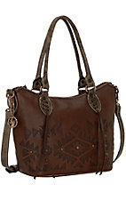 American West Mystic Shadow Chestnut Brown Convertible Zip Top Tote