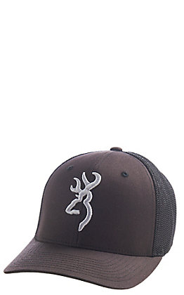 Browning Brown Branded Flex Logo Fitted Mesh Back Cap - S/M