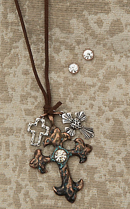 Blazin Roxx Ladies Brown Leather Necklace with Bronze Cross and Rhinestone Earrings Jewelry Set