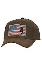 Browning Liberty Wax Dark Brown with Flag Patch Logo Cap 308776881