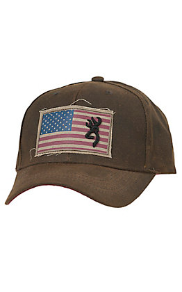 Browning Liberty Wax Dark Brown with Flag Patch Logo Cap