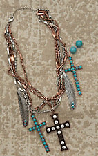 Blazin Roxx Ladies Silver and Bronze Multi Chain with Turquoise and Rhinestone Accents Necklace and Earring Jewelry Set