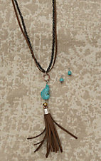Blazin Roxx Ladies Brown Leather, Black Chain, and Turquoise Stone Jewelry Set