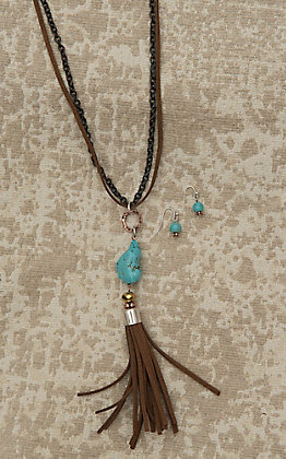 Blazin Roxx Ladies Brown Leather Black Chain and Turquoise Stone Jewelry Set