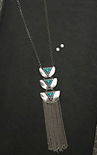 Blazin Roxx Ladies Silver with Turquoise Stones Jewelry Set